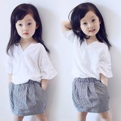 V2108- Bộ váy rời áo trắng chân váy kẻ cho bé 3- 8 tuổi, 14- 27kg, sz 7-15
