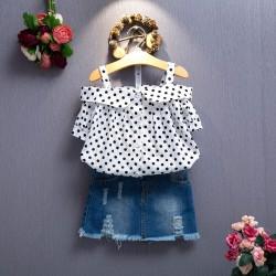 AG68- Áo hai dây hở vai chấm bi cho bé gái 4-11 tuổi, 17 - 35 kg, sz 7-15