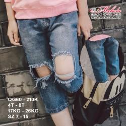 QG60- Quần Jean rách gối cá tính cho bé  4 - 8 tuổi, 17- 26kg, sz 7-15
