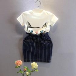 V2130- Bộ váy rời áo hình mèo chân váy kẻ cho bé gái 3- 8 tuổi, 14- 27kg, sz 7-15