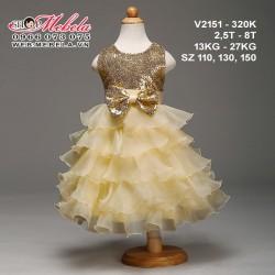 V2151- Váy dự tiệc nhiều tầng ánh vàng đính nơ cho bé gái 2,5- 8 tuổi, 13-27kg, sz 110,130,150