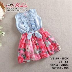 V2149- Váy liền sát nách xanh hồng có nơ cho bé gái 3-5 tuổi, 15-20kg ,sz 100-130
