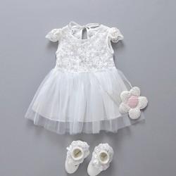 V2146- Váy ren trắng tay bồng cho bé gái 7th-3 tuổi, 8-15kg sz 70-100