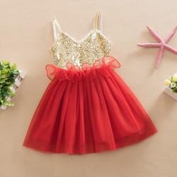 V2147- Váy hai dây đính kim tuyến cho bé gái 2,5-6 tuổi, 13-23kg, sz 90-130