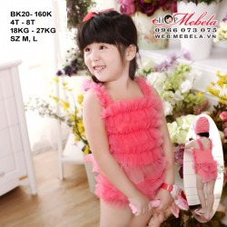 BK20- Bikini hồng bèo nơ mông kèm mũ cho bé gái 4-8 tuổi 18-27kg, sz M, L