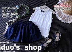 V2095- Váy rời áo trắng chân váy xanh cho bé gái 3-7 tuổi, 14-25 kg, sz 7-15