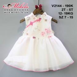 V2144- Váy suờn xám chân váy xòe cho bé gái 2-5 tuổi 12-19kg sz 7-15