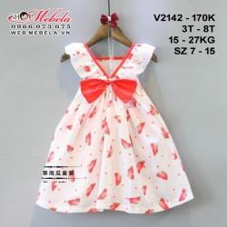 V2142- Váy đính nơ in hình quả dưa hấu cho bé gái 3-8 tuổi 15-27kg sz 7-15