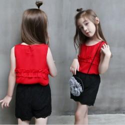 BG189 - Set áo sát nách màu đỏ + quần sooc ren màu đen cho bé gái 18th - 7 tuổi, 11 - 25kg, size 7 - 15