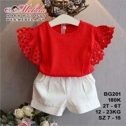 BG201 - Set áo thun đỏ tay cánh tiên + Quần sooc voan cho bé gái 2 - 6 tuổi 12 - 23kg, size 7 - 15