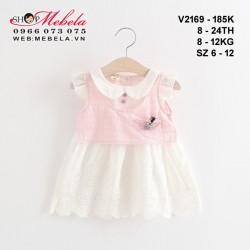v2169 - Váy bé gái vải thô thêu ren màu trắng giả gile hồng tay cánh tiên cho bé gái 6 - 24 tháng, 6 - 12kg, size 6 - 12