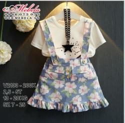 V2103 - Bộ áo phông trắng kèm váy yếm hoa xanh cho bé 2,5t - 5t (13kg - 20kg) SZ 7 - 15