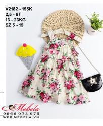 V2182 Váy hoa thô mát cho bé 2,5-6t , 13-23kg, size 7-15
