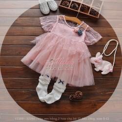 V2205 Váy ren hồng 2 hoa cho bé 13 đến 25kg, size 5-13