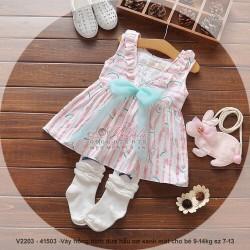 V2203 Váy hồng hình dưa hấu nơ xanh mát cho bé 9-14kg sz 7-13