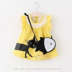 V2202 Váy mèo vàng kèm túi cho bé 10-18kg, sz 5-11