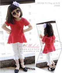 BG304 Bộ áo đỏ quần trắng tua rua cho bé 11-17kg, sz 6-12