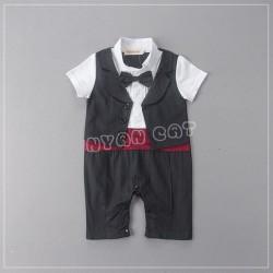 BD60 Bộ vest giả gile đai đỏ nơ đen cho bé 10kg 12th sz 90