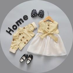 V760 Váy kaki vàng kèm áo cho bé gái 11-16kg sz 6-12