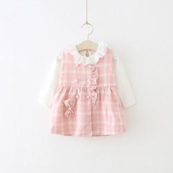V759 Váy kẻ hồng kèm áo trắng cho bé gái 8-13kg sz S-XL
