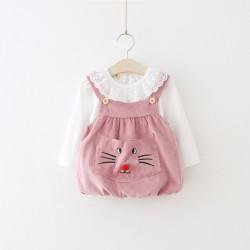 V758 Váy yếm nhung mèo hồng kè áo trắng cho bé gái 7-12 size S-XL