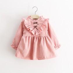V757 Váy nhung 2 nơ cho bé gái 8-14kg size 6-12