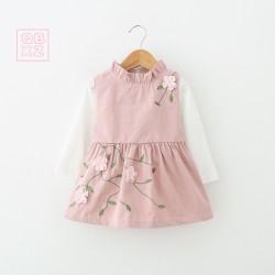 V756 Váy kaki hồng thêu hoa kèm áo trắng cho bé gái 8-14kg sz 90-120