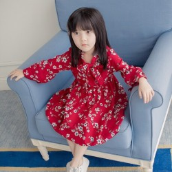 V755 Váy voan hoa đỏ cho bé gái 14-25kg size 7,11,15