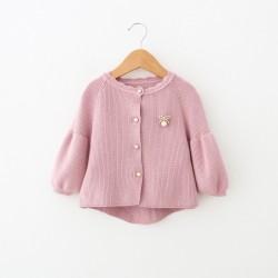 KG415 Áo khoác len hồng cho bé gái 9-4kg sz2-8