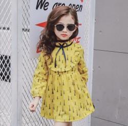 V765 Váy dài tay vàng cổ bèo cho bé 13-22kg sz 7,9,13