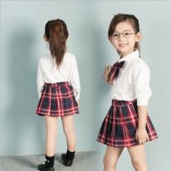 V762 Bộ váy kẻ đỏ kèm áo trắng style Hàn cho bé 12-25kg sz 7-15