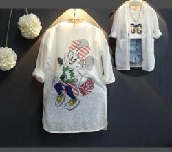 KG417 Áo khoác trắng Mickey dáng dài mỏng cho bé 14-25kg sz7-15