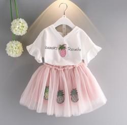 V2218 Bộ váy dâu hồng xinh cho bé 13-27kg size 7-15