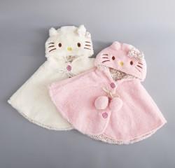 AC16 - Áo choàng lông liền mũ mèo kitty cho bé 7kg - 13kg sz M,L,XL