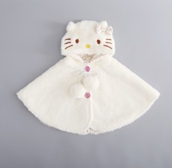 AC16 - Áo choàng lông liền mũ mèo kitty cho bé 7kg - 11kg sz M,L
