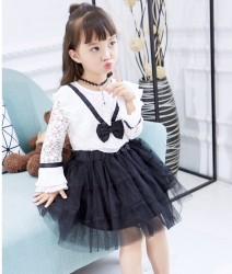 V766 Bộ gồm áo + váy ren đen trắng cho bé 3-8t