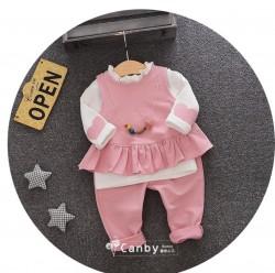 BG541 Bộ 4 món gồm 2 áo, 1 quần, 1 vòng cổ cho bé 8-15kg sz 6,8,10,12,12