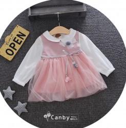 V768 Bộ váy hồng kèm áo trắng đính hoa cho bé 7-11kg sz 100-130