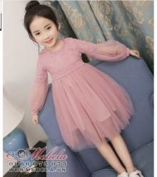 V770 Váy ren hồng tiểu thư cho bé 15-32kg sz 110 - 160
