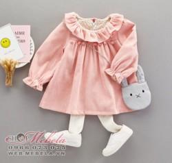V773 Váy nhung hồng kèm túi giả hình thỏ cho bé 9-15kg sz 6-12