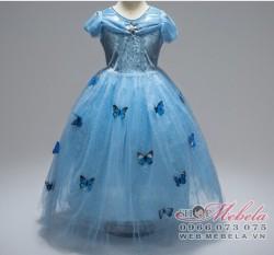 V777 Váy công chúa Lọ Lem trang trí bướm cho bé từ 16kg trở lên