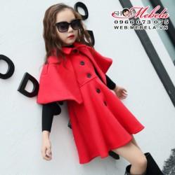 KG421 Áo khoác dạ đỏ dáng váy liền áo choàng sang chảnh cho bé 20-40kg, 5 - 15t, sz 110.130.160