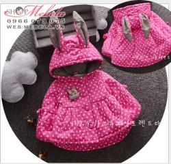 KG287 Áo khoác hồng chấm bi 3 lớp liền mũ tai thỏ cho bé 8-10kg