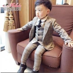 BT599 Bộ vest kẻ cho bé (ko kèm sơ mi cà vạt)  cho bé 4 - 10 tuổi, 18-34kg
