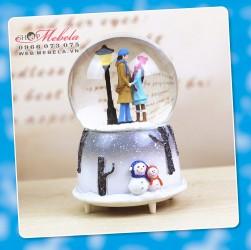 CT01 - Quà tặng quả cầu tuyết cặp đôi mùa đông tuyết đèn nhạc tự động