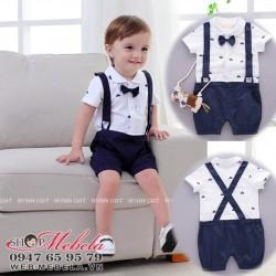BD75 Bộ áo liền quần giả yếm hình thuyền buồm cho bé 8-10-12kg