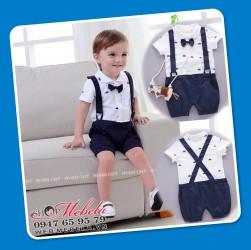 BD75 Bộ áo liền quần giả yếm hình thuyền buồm cho bé 8-10-12