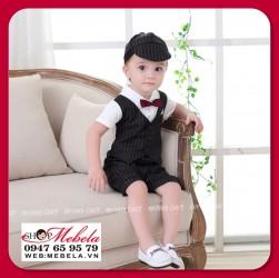 BD74 Bộ áo liền quần giả gile vest cho bé đi dự tiệc 6-8-10kg