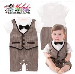 BD77 Bộ vest dự tiệc áo liền quần giả gile cho bé size 10 -12kg, 90-95