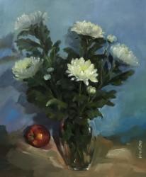 Tranh hoa cúc trắng